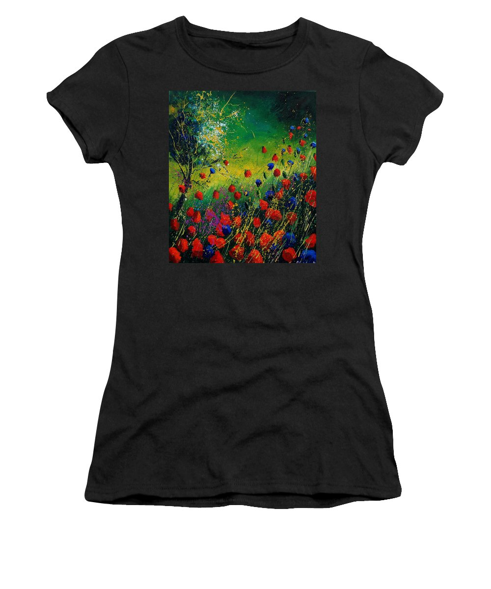 Flowers Women's T-Shirt featuring the painting Red And Blue Poppies 67 1524 by Pol Ledent