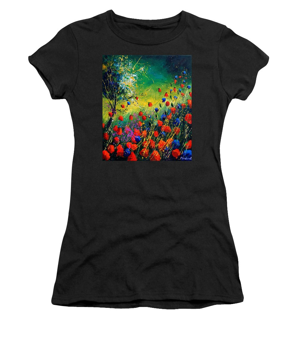 Flowers Women's T-Shirt (Athletic Fit) featuring the painting Red And Blue Poppies by Pol Ledent
