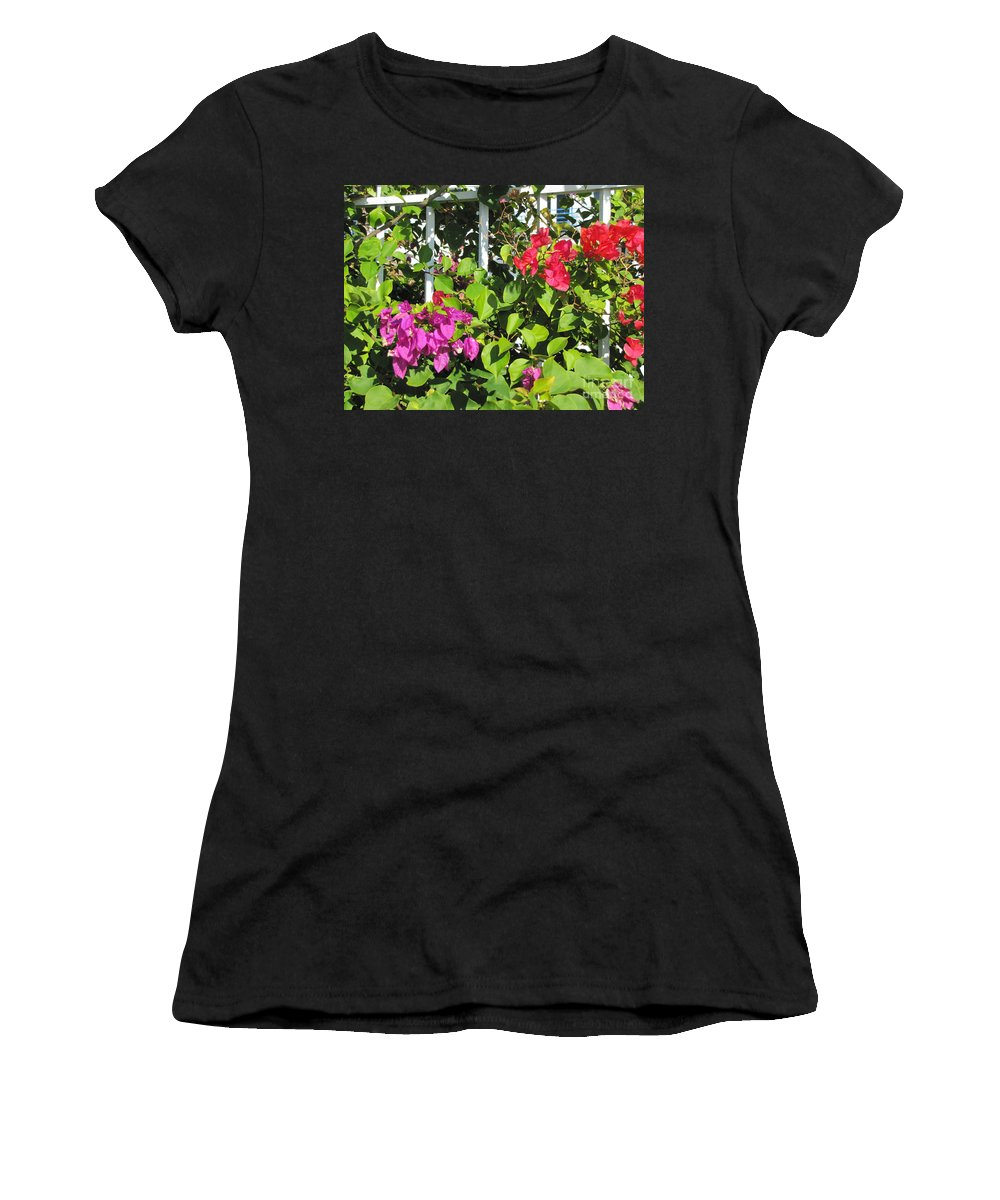 Flowers Women's T-Shirt (Athletic Fit) featuring the photograph Red And Purple Flowers by Michelle Powell