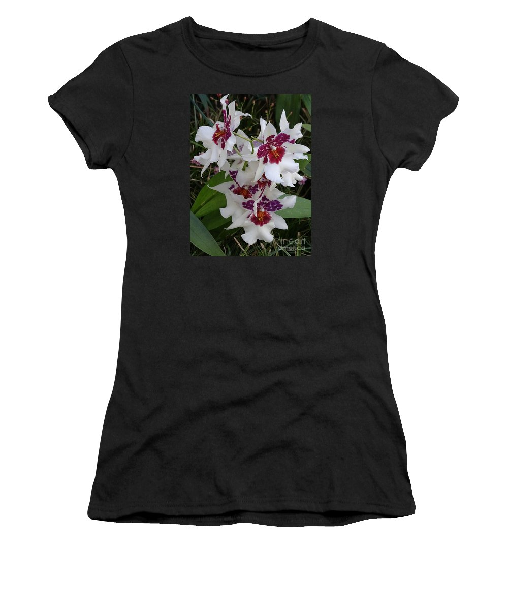 Red Women's T-Shirt (Athletic Fit) featuring the photograph Red And Purple Orchids by Heather Jane