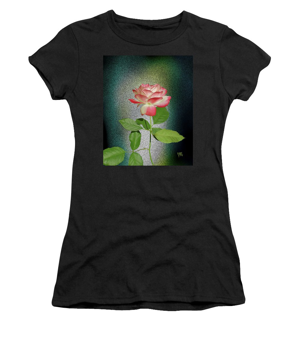 Cutout Women's T-Shirt (Athletic Fit) featuring the photograph Red And White Rose5 Cutout by Shirley Heyn