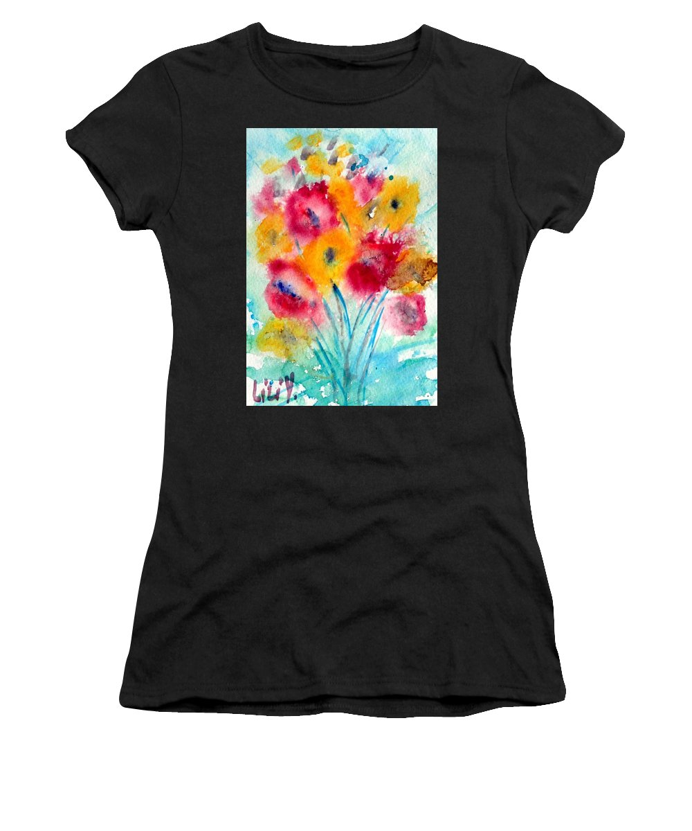 Flowers Women's T-Shirt featuring the painting Red And Yellow Flowers by Luiza Vizoli