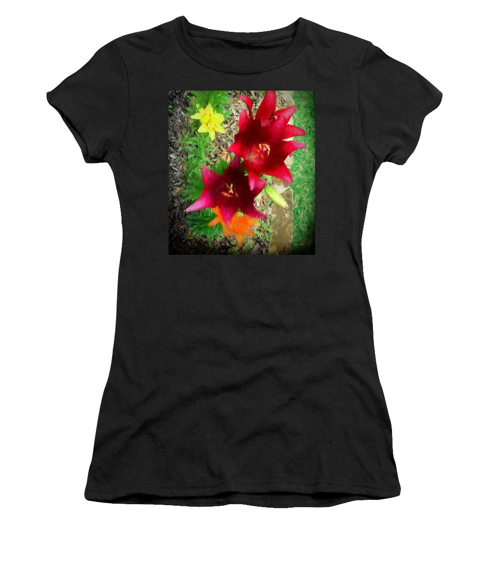 Lilies Women's T-Shirt featuring the photograph Red And Yellow Garden Flowers by Marty Malliton