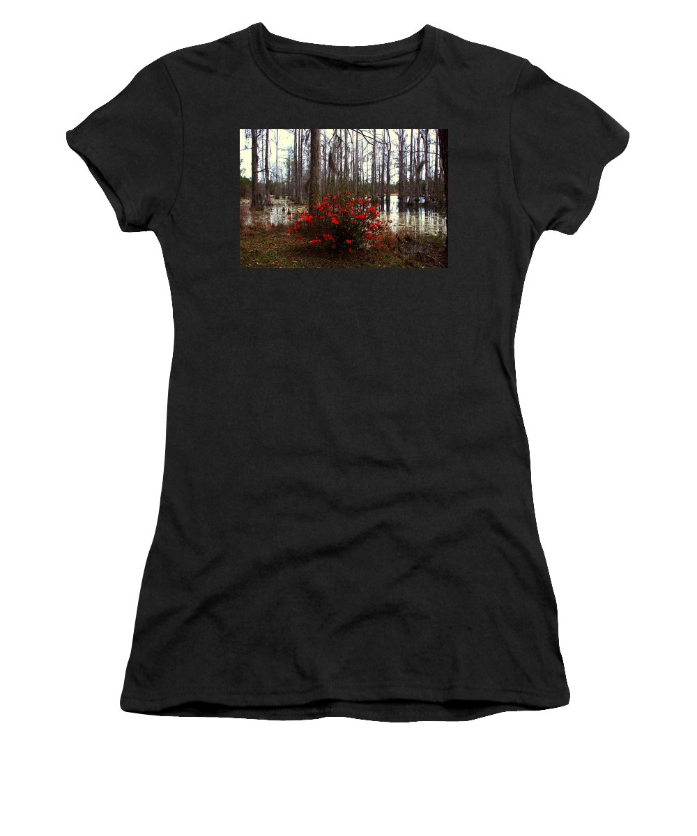 Azaleas Women's T-Shirt (Athletic Fit) featuring the photograph Red Azaleas In The Swamp by Susanne Van Hulst