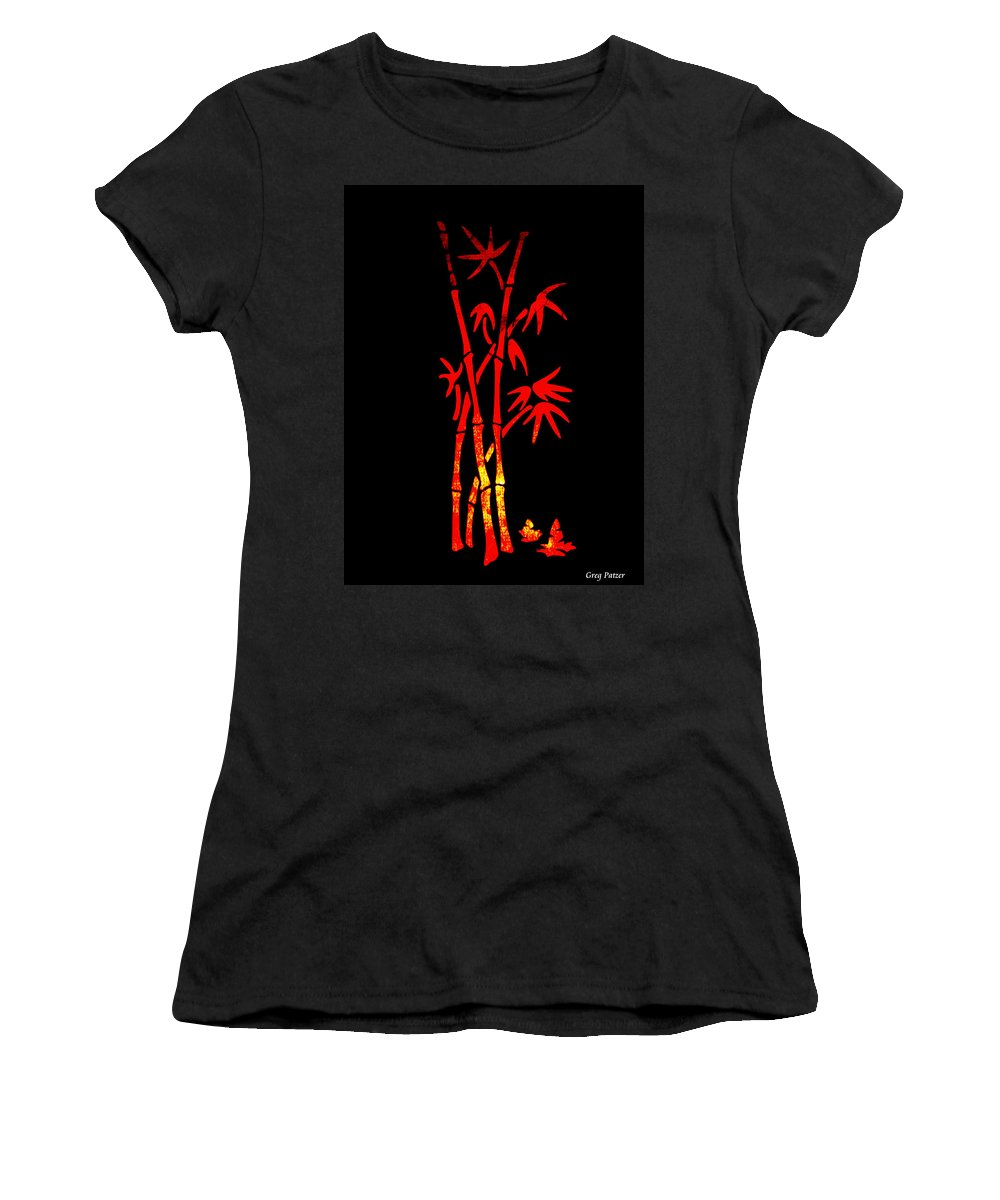 Patzer Women's T-Shirt (Athletic Fit) featuring the photograph Red Bamboo by Greg Patzer