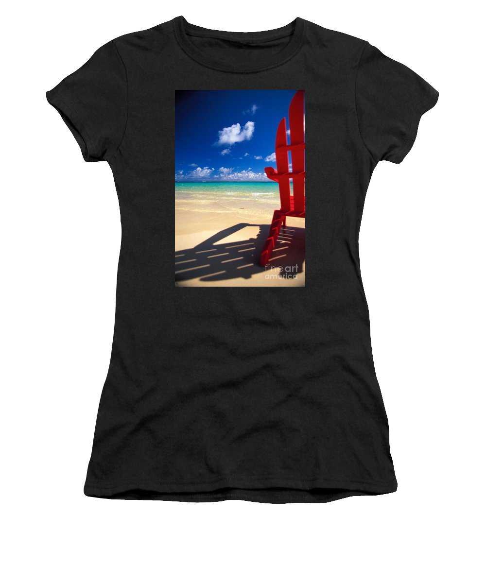 Afternoon Women's T-Shirt (Athletic Fit) featuring the photograph Red Beach Chair by Dana Edmunds - Printscapes