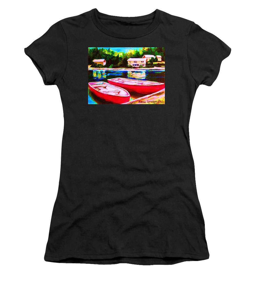Red Boats Women's T-Shirt (Athletic Fit) featuring the painting Red Boats At The Lake by Carole Spandau