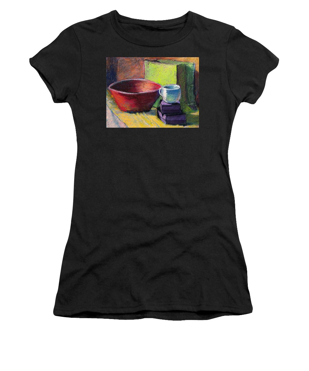 Bowl Women's T-Shirt (Athletic Fit) featuring the painting Red Bowl by Laurie Paci