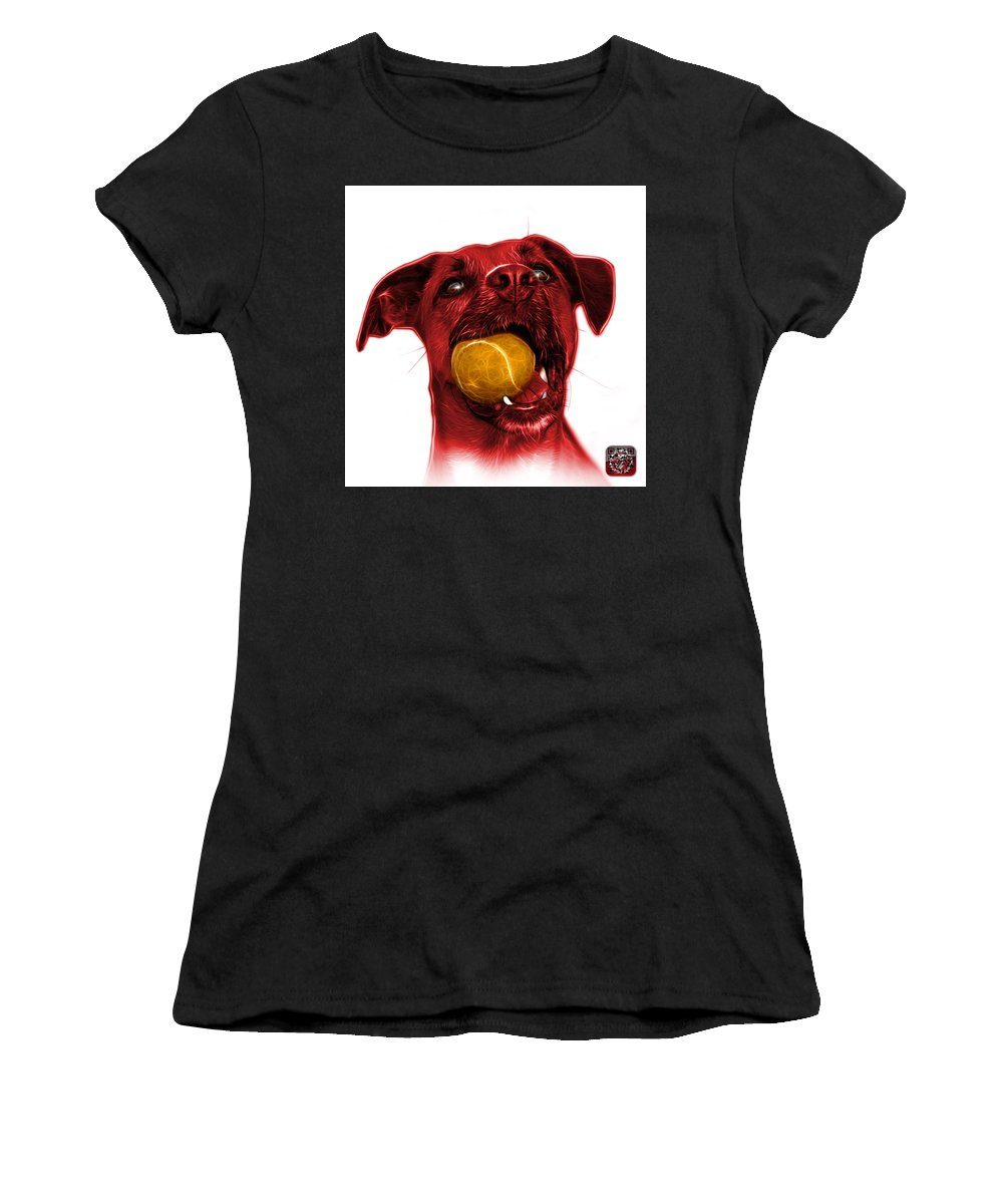 Dog Women's T-Shirt featuring the mixed media Red Boxer Mix Dog Art - 8173 - Wb by James Ahn