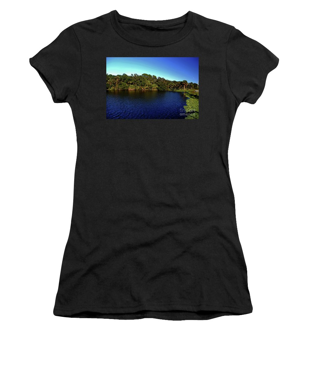 Lake Women's T-Shirt (Athletic Fit) featuring the photograph Red Bugg Slough by Gary Wonning