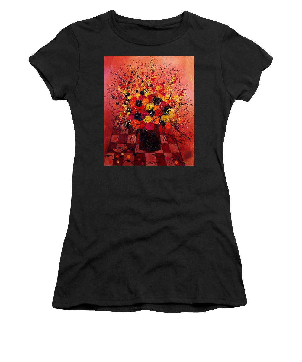 Flowers Women's T-Shirt (Athletic Fit) featuring the painting Red Bunch by Pol Ledent