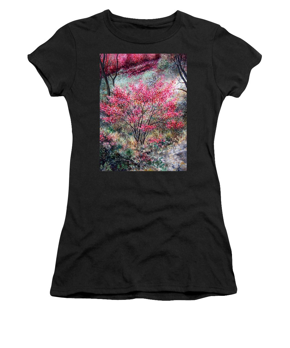 Landscape Women's T-Shirt (Athletic Fit) featuring the painting Red Bush by Valerie Meotti