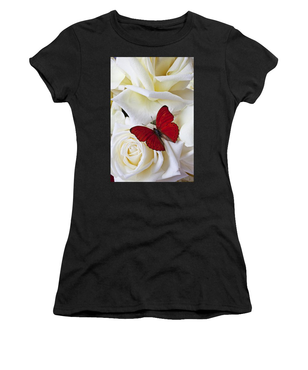 Red Women's T-Shirt featuring the photograph Red Butterfly On White Roses by Garry Gay
