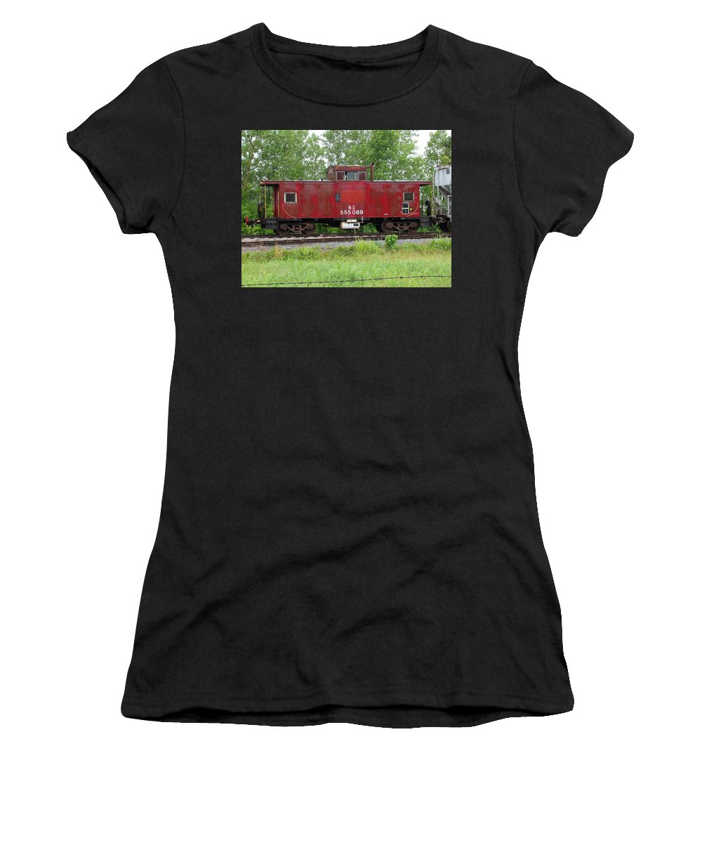 Train Women's T-Shirt (Athletic Fit) featuring the photograph Red Caboose In The Rain by J R Seymour