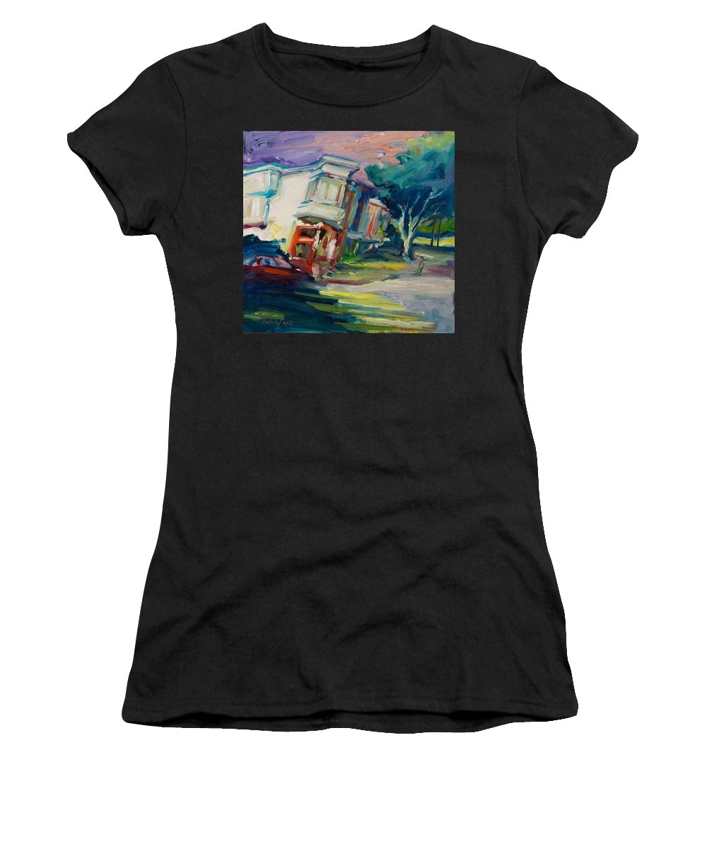 Trees Women's T-Shirt (Athletic Fit) featuring the painting Red Cafe by Rick Nederlof