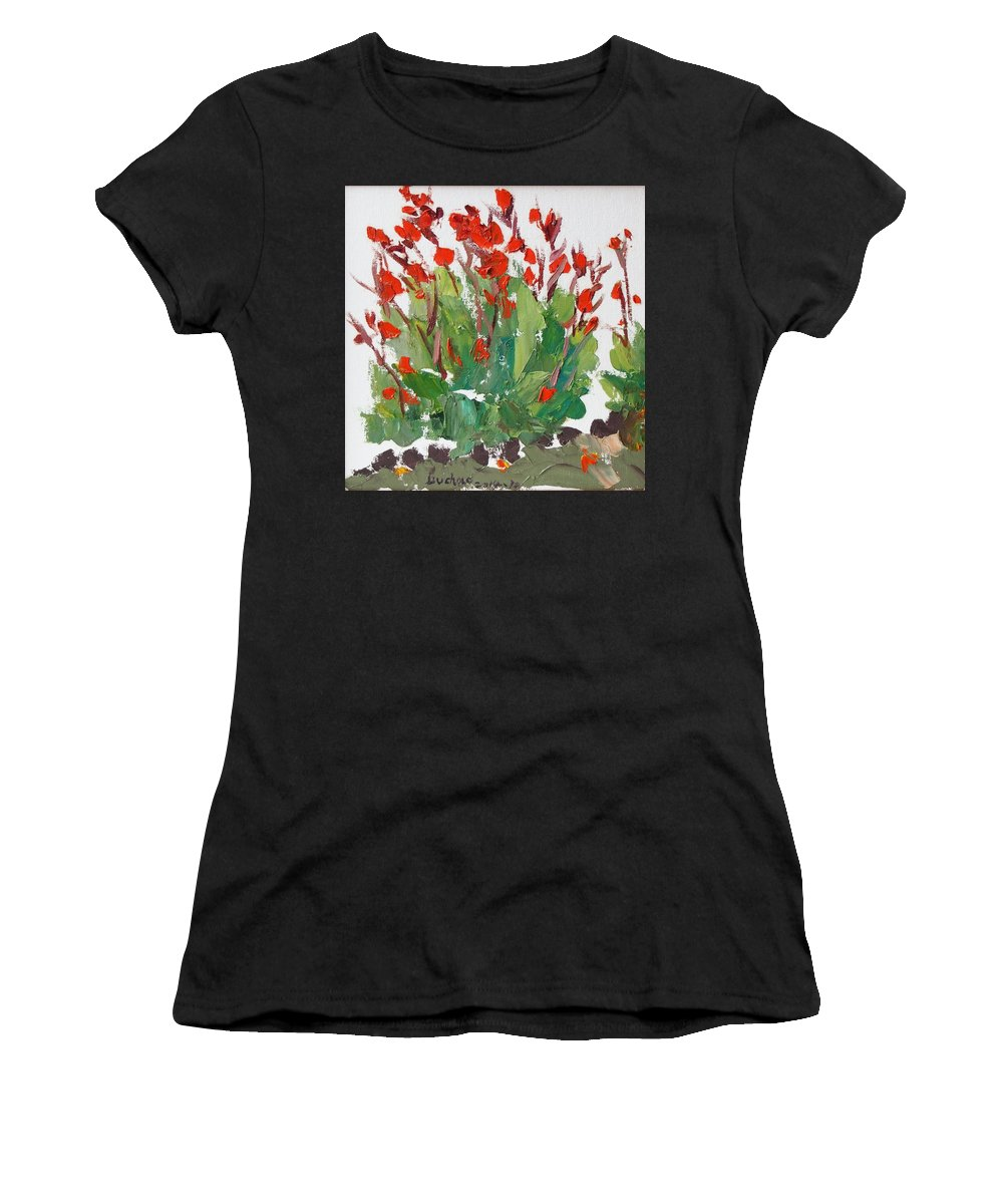 Canna Women's T-Shirt featuring the painting Red Canna by Chao Liu