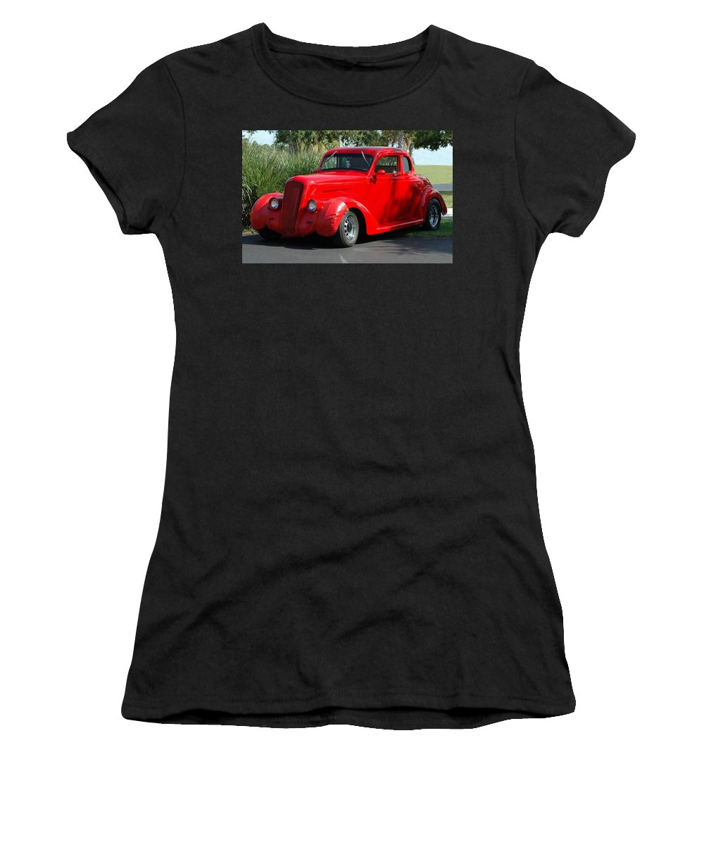 #oldcars #oldcarsarelove #oldcarspassion #oldcarservice #oldcarsrules #oldcarsinneukoelln #oldcarshow #oldcarsinseattle #oldcarsrule #vw #volkswagen #bug #vwlove #vwbug #oldcar #vwlife #craigslist #toyota #van #minivan #toyotaminivan #toyotavan #carsforsale #rarecars #citroen #dyane #dyane6 #autoslavia #citroenfanphoto #oldcarsart #artoldscar #oldcarartcanvas Women's T-Shirt featuring the photograph Red Car by Tania Oliver