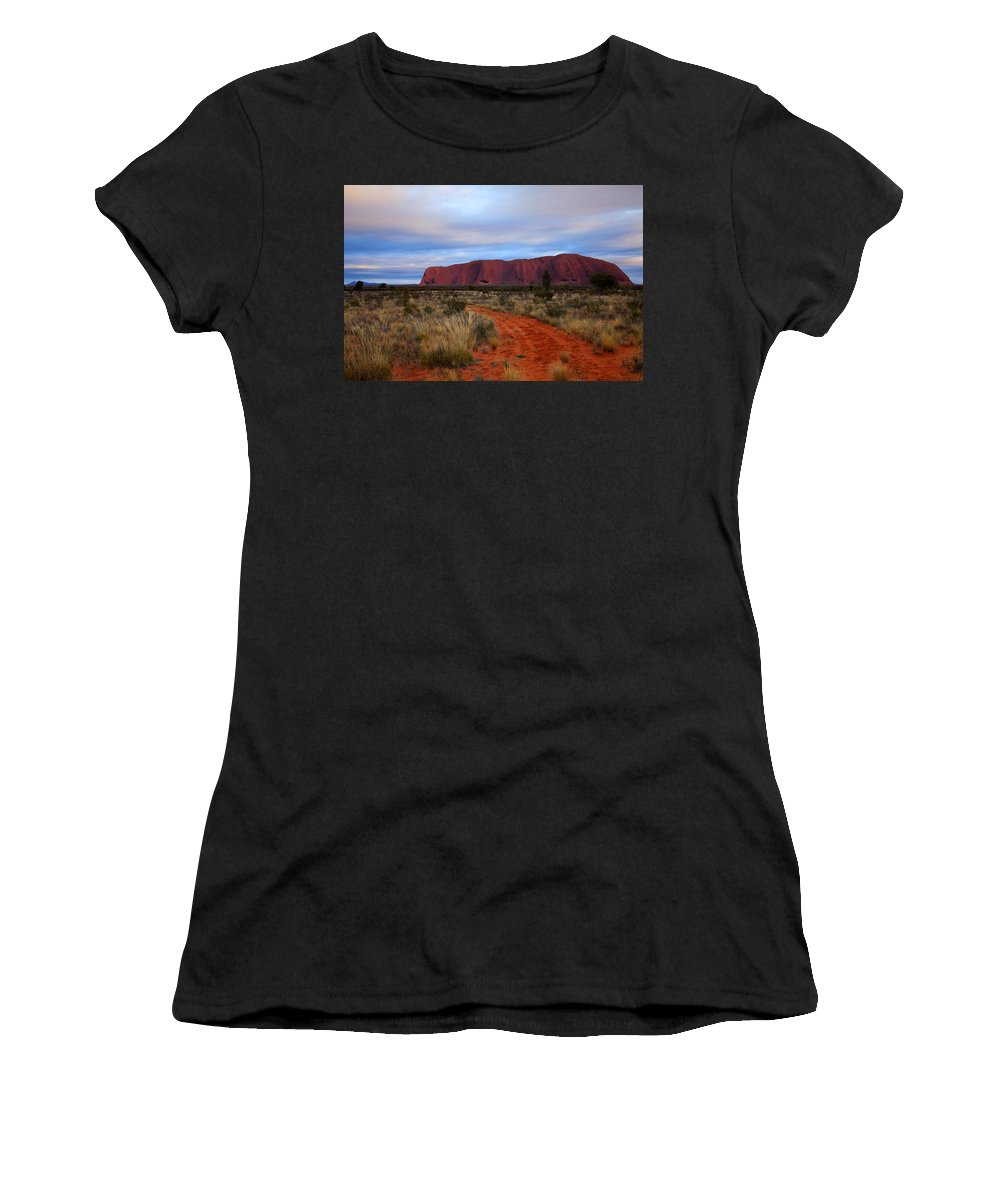 Ularu Women's T-Shirt (Athletic Fit) featuring the photograph Red Center Dawn by Mike Dawson