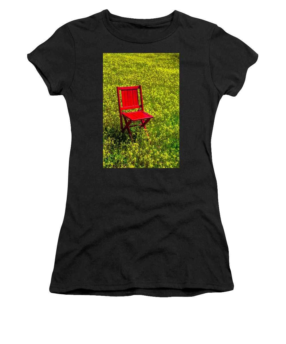 Red Women's T-Shirt (Athletic Fit) featuring the photograph Red Chair Amoung Wildflowers by Garry Gay