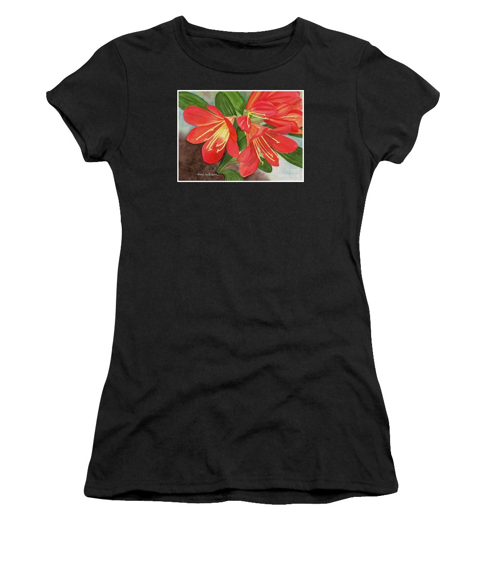 Hao Aiken Women's T-Shirt featuring the painting Red Clivias - Watercolor by Hao Aiken