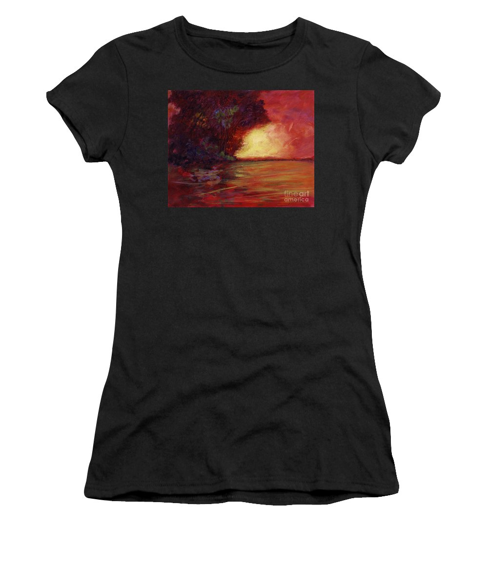 Impressionism Women's T-Shirt (Athletic Fit) featuring the painting Red Dusk by Julianne Felton