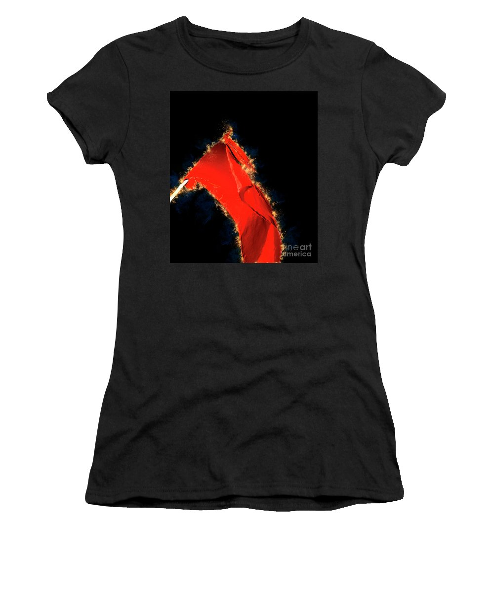 Red Women's T-Shirt (Athletic Fit) featuring the photograph Red Flag On Black Background by Humourous Quotes