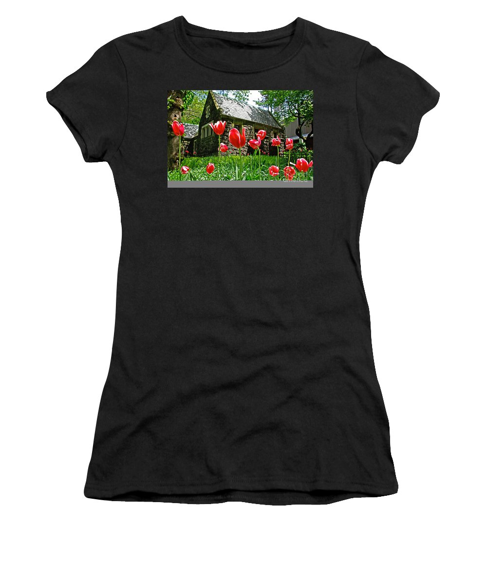 Red Women's T-Shirt (Athletic Fit) featuring the photograph Red Flowers In Central Park by Zalman Latzkovich