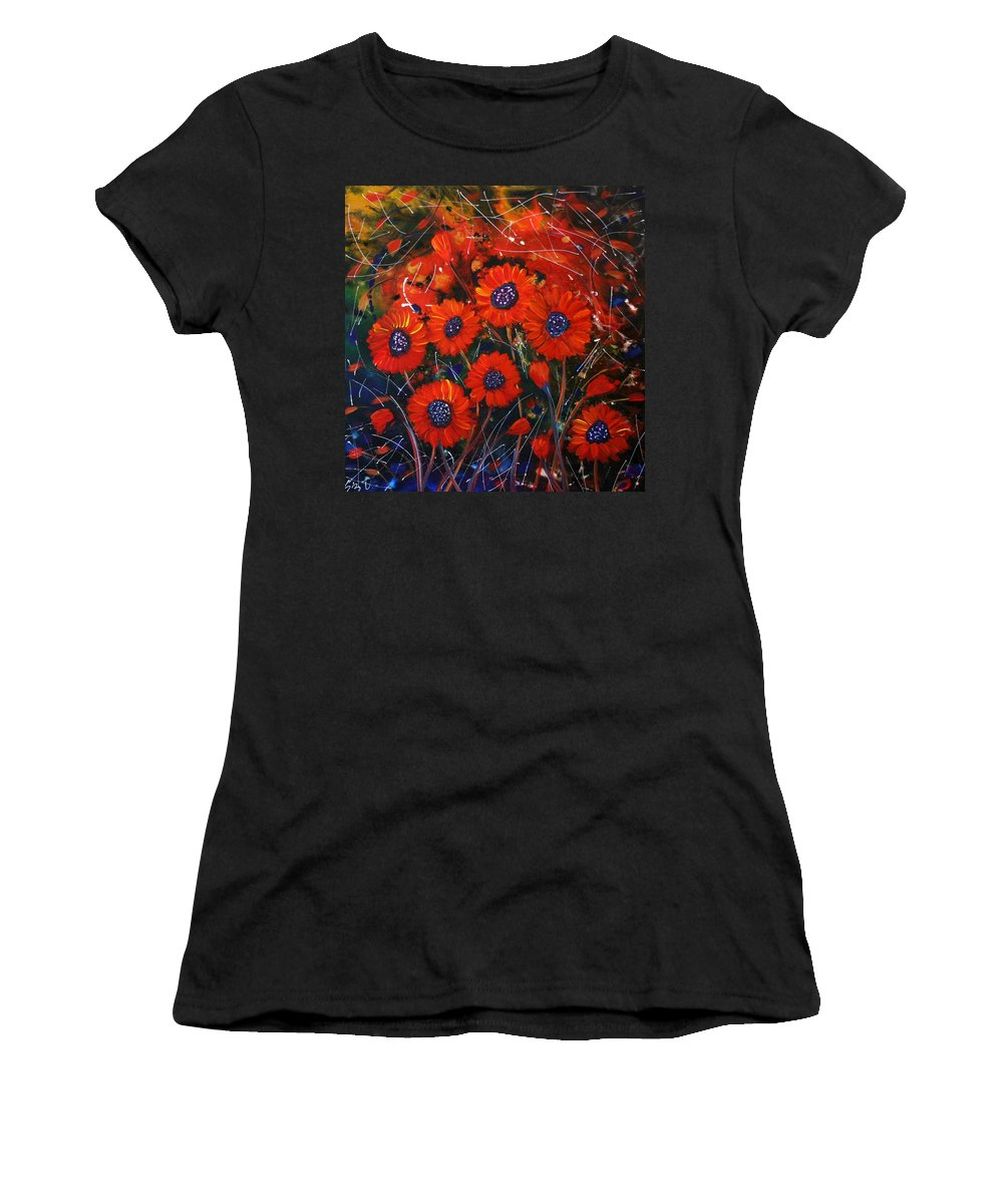 Flowers Women's T-Shirt featuring the painting Red Flowers In The Night by Luiza Vizoli
