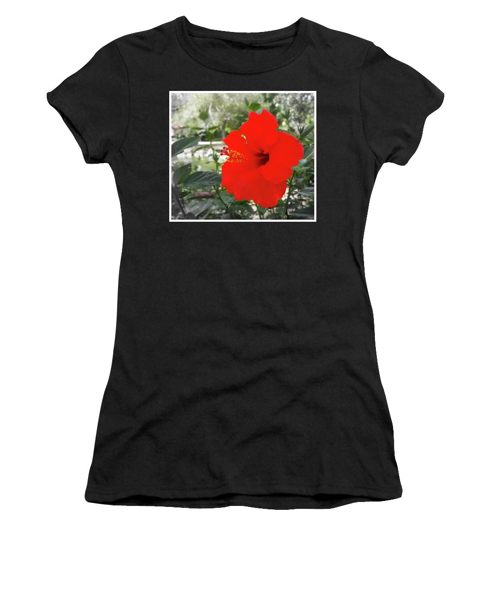 Red Women's T-Shirt (Athletic Fit) featuring the photograph Red Gumamela by Alexey Dubrovin
