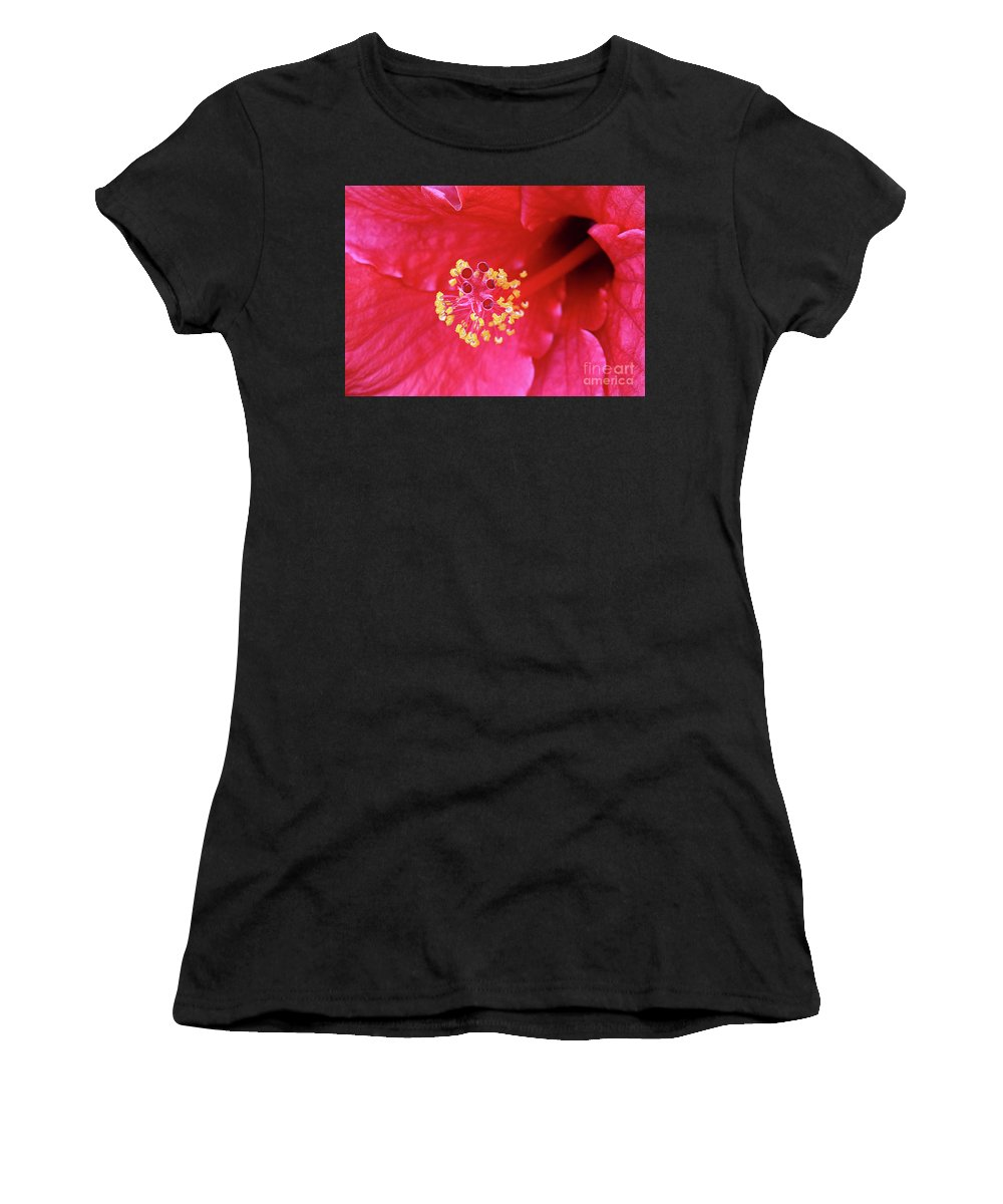 Red Hibiscus Macro Women's T-Shirt (Athletic Fit) featuring the photograph Red Hibiscus 3 by Elisabeth Lucas