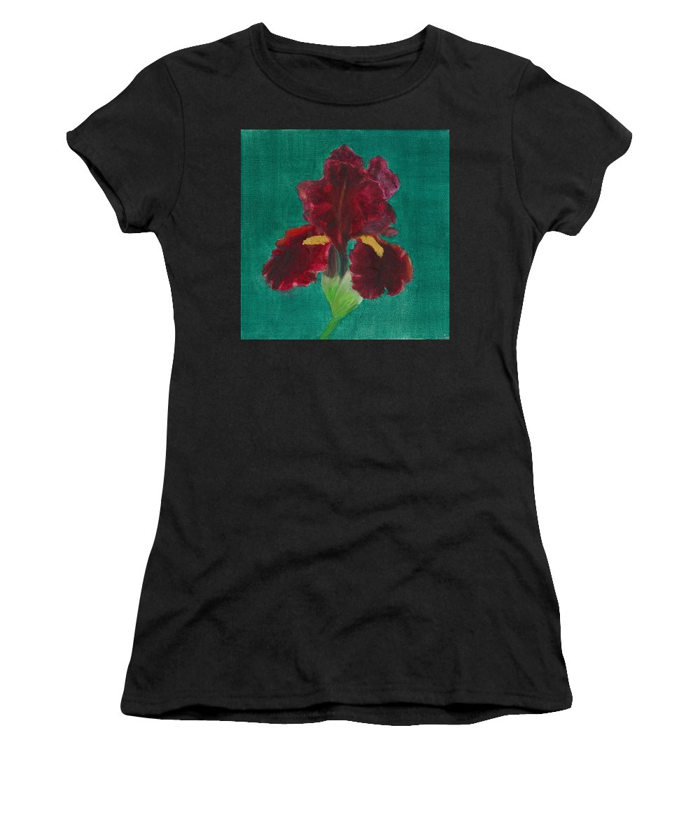 Flower Women's T-Shirt (Athletic Fit) featuring the painting Red Iris by Paula Emery