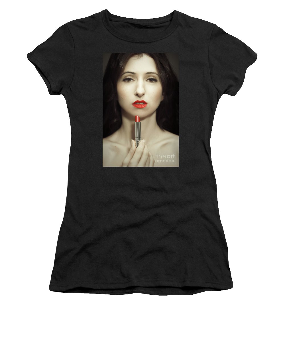 Lipstick Women's T-Shirt (Athletic Fit) featuring the photograph Red Lipstick by Amanda Elwell