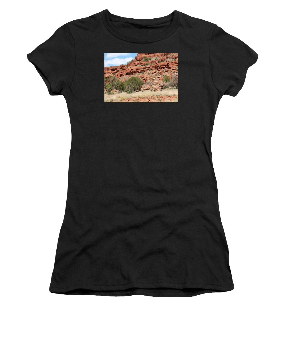 Western Art Women's T-Shirt (Athletic Fit) featuring the photograph Red Mesa And Yellow Flowers by Ruth Ann Mertens