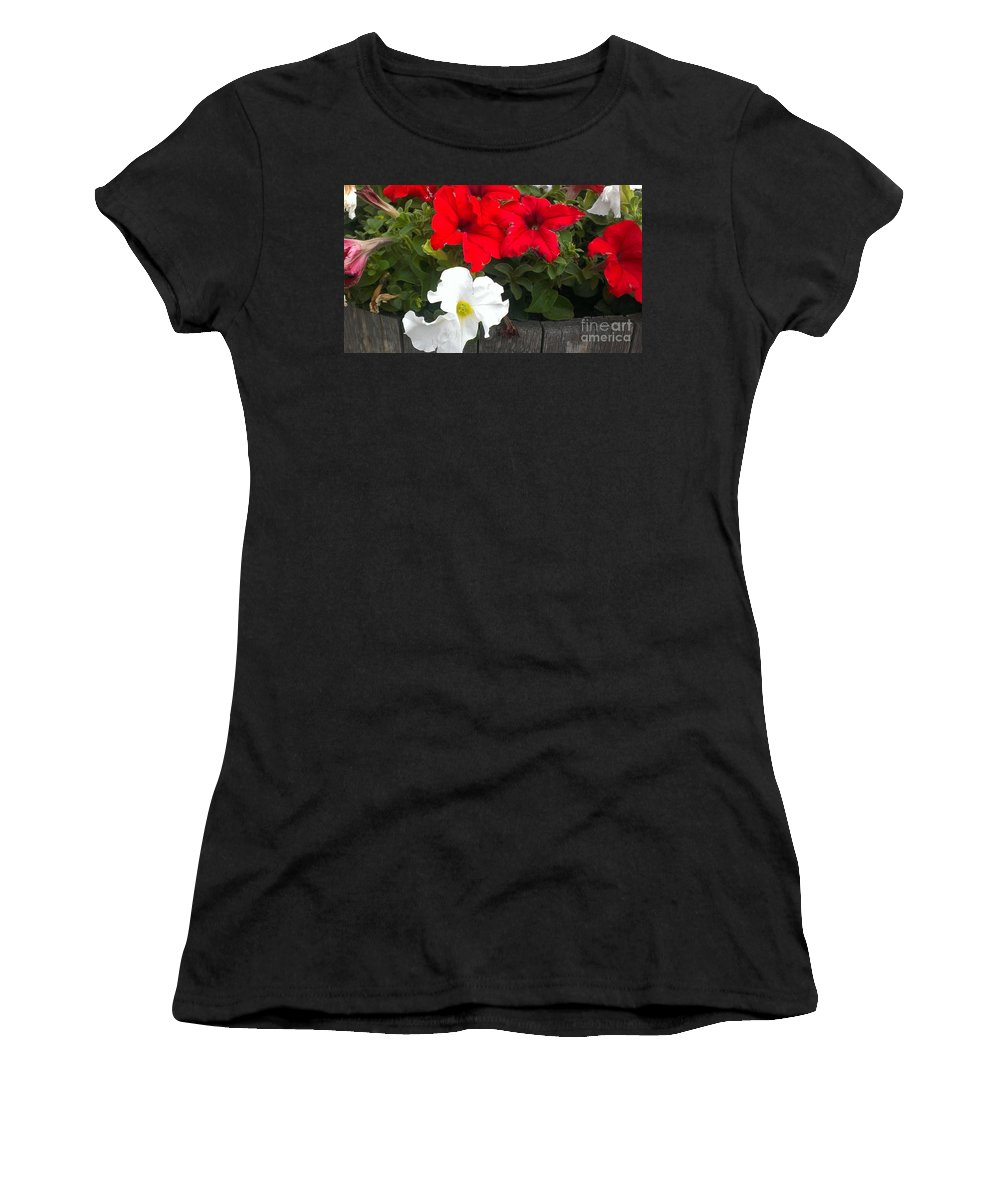Petunias Women's T-Shirt featuring the photograph Red N White by LKB Art and Photography