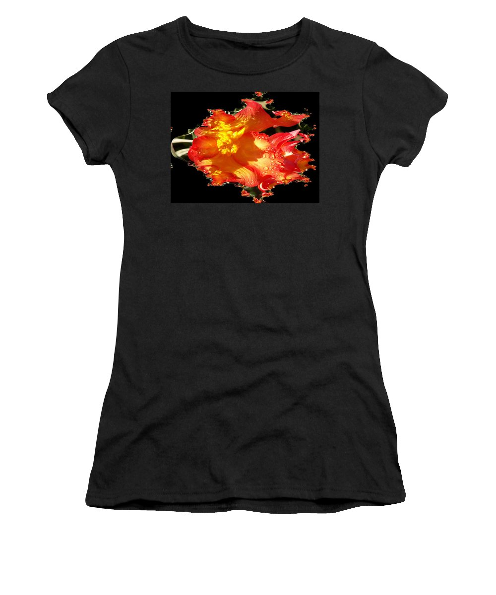 Flowers Women's T-Shirt (Athletic Fit) featuring the digital art Red N Yellow Flowers by Tim Allen