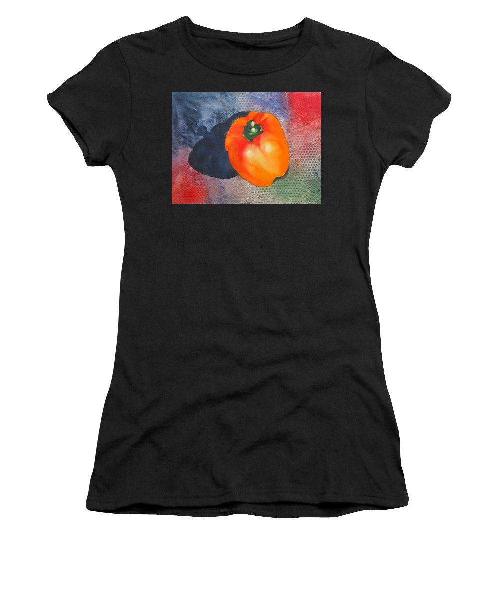 Pepper Women's T-Shirt (Athletic Fit) featuring the painting Red Pepper Solo by Jean Blackmer