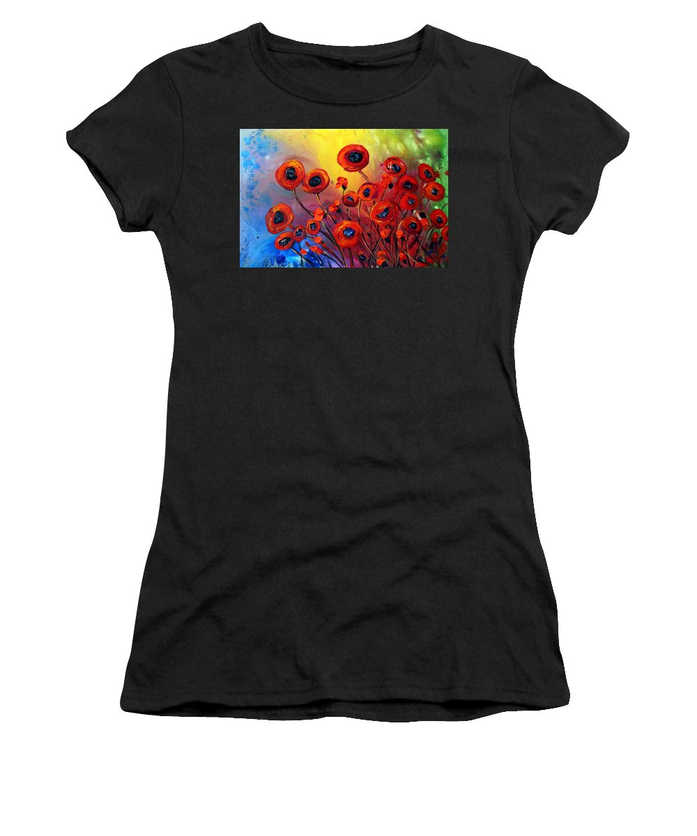 Flowers Women's T-Shirt featuring the painting Red Poppies In Rain by Luiza Vizoli