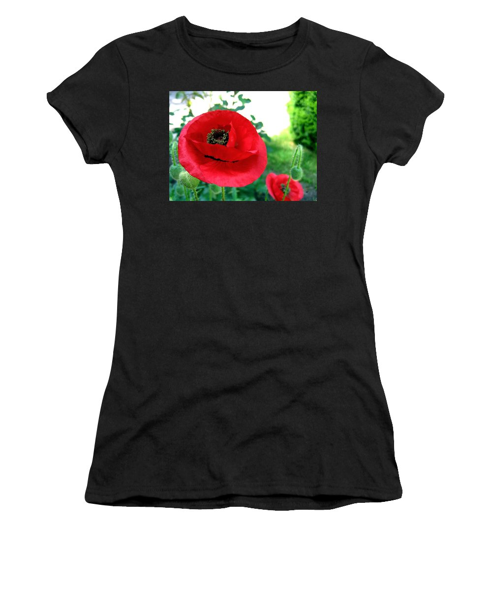 Poppies Women's T-Shirt (Athletic Fit) featuring the photograph Red Poppies by Will Borden