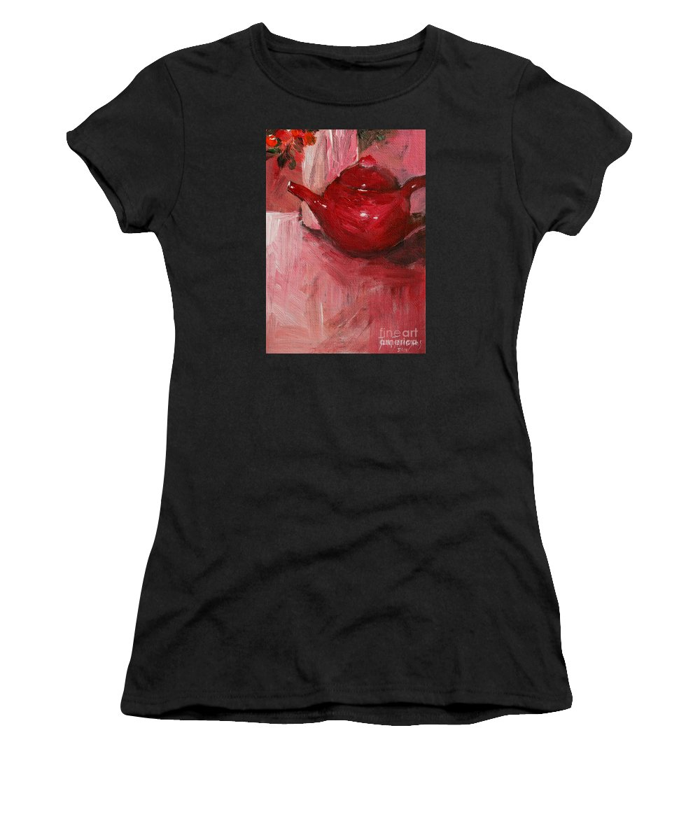 Red Women's T-Shirt featuring the painting Red Pot by Jun Jamosmos