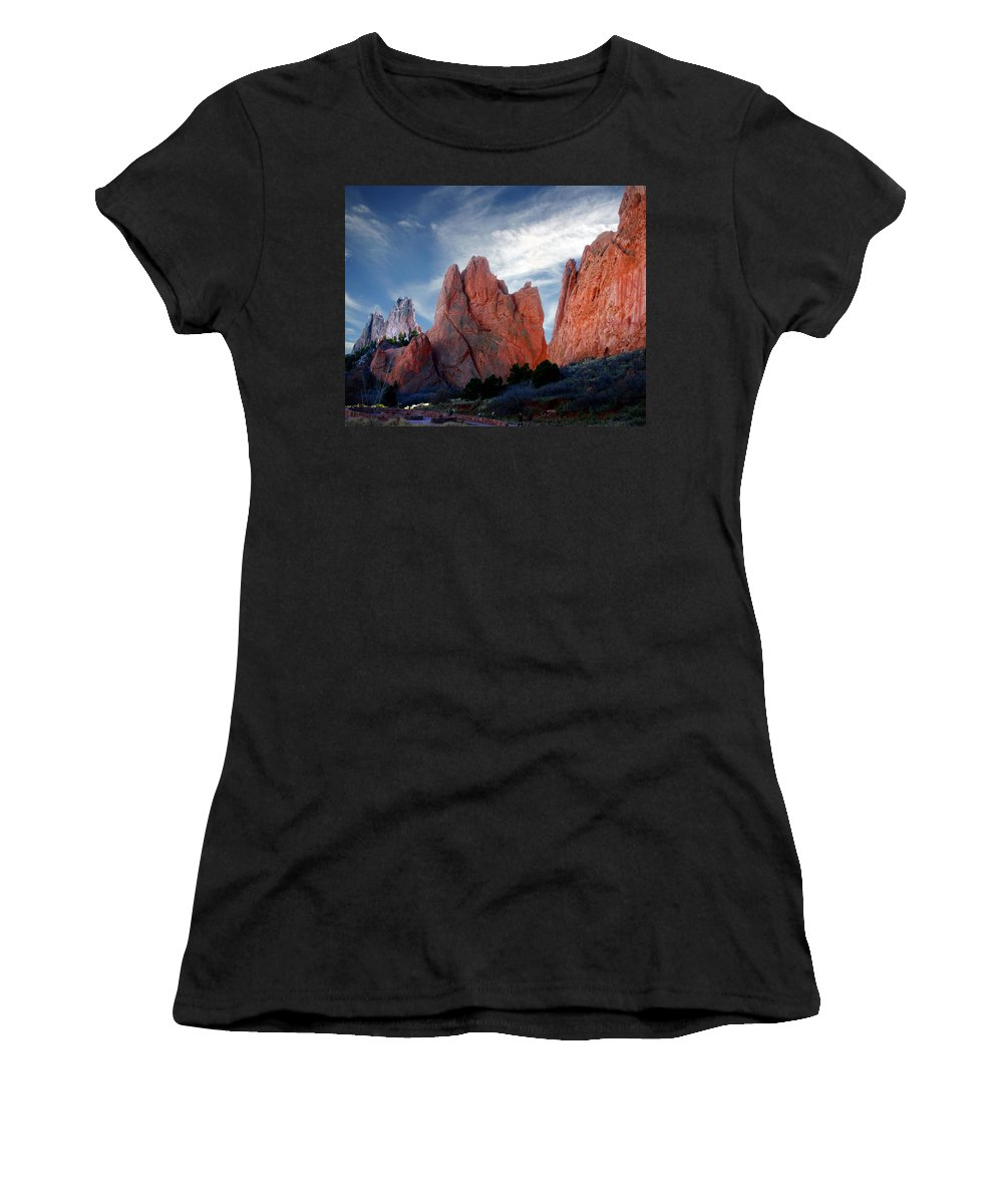 Garden Of The Gods Women's T-Shirt (Athletic Fit) featuring the photograph Red Rock by Anthony Jones