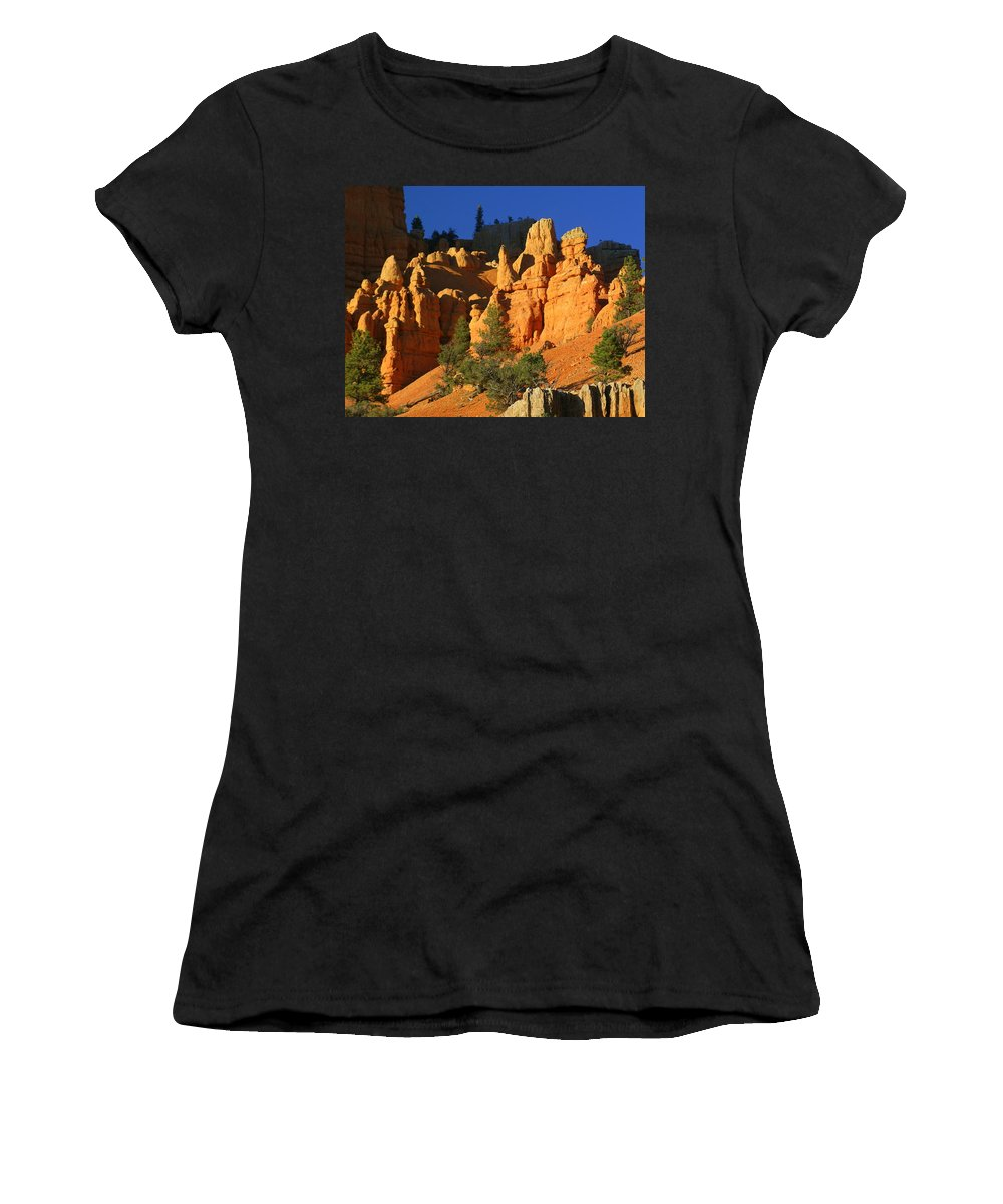 Red Rock Canyon Women's T-Shirt (Athletic Fit) featuring the photograph Red Rock Canoyon At Sunset by Marty Koch