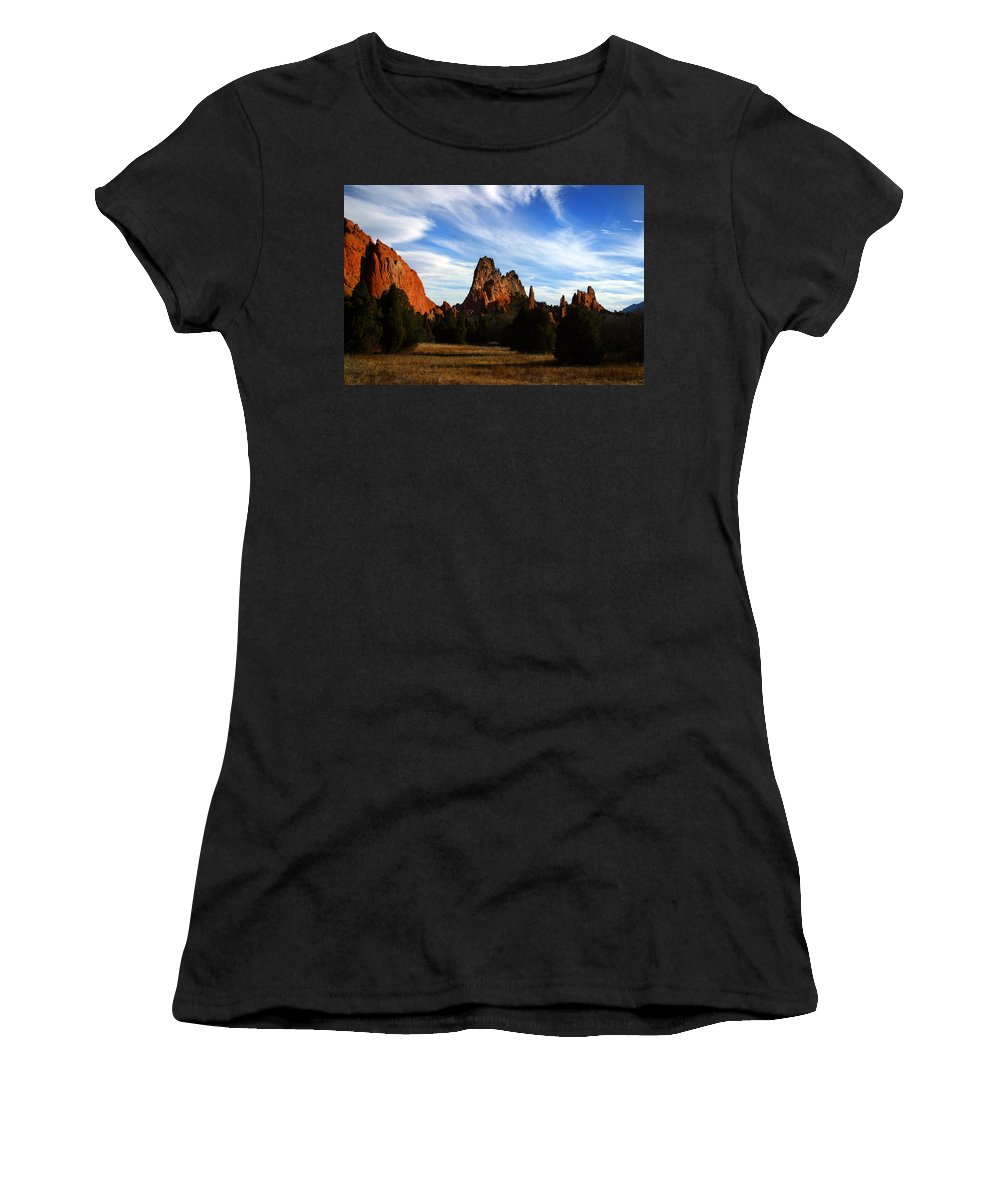 Garden Of The Gods Women's T-Shirt (Athletic Fit) featuring the photograph Red Rock Formations by Anthony Jones