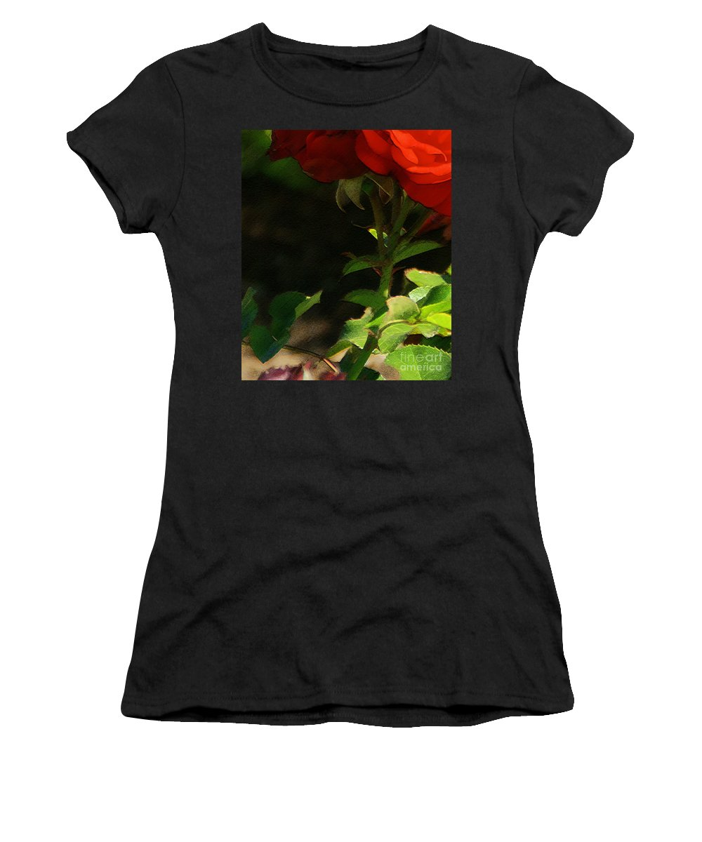 Rose Women's T-Shirt featuring the photograph Red Rose by Linda Shafer