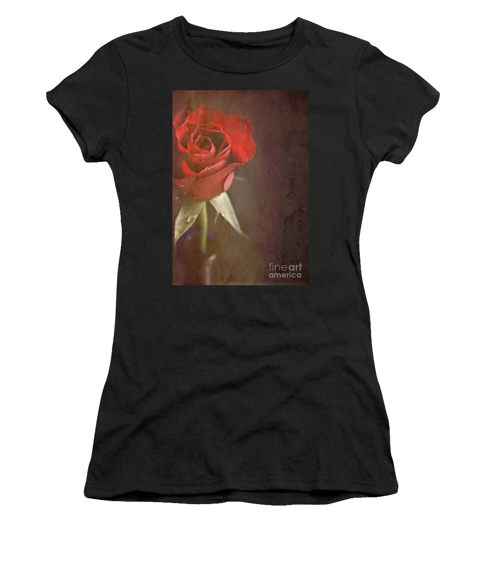 Still Life Women's T-Shirt featuring the photograph Red Rose by Lyn Randle