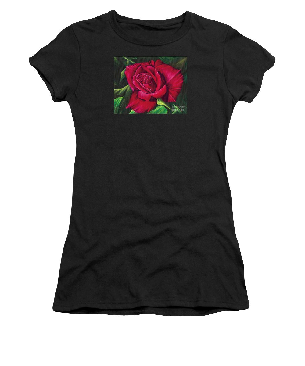 Rose Women's T-Shirt featuring the painting Red Rose by Nancy Cupp