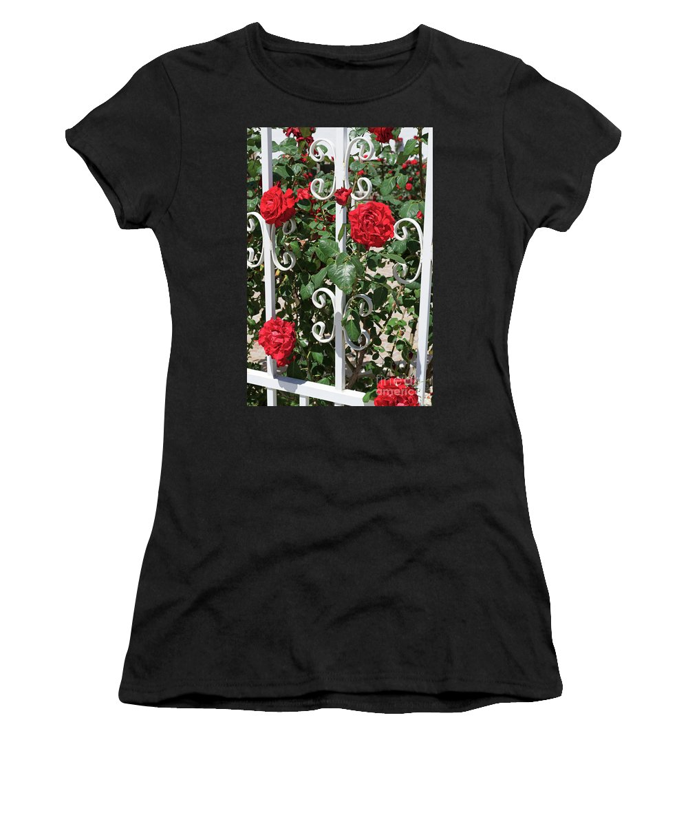 Red Roses Women's T-Shirt (Athletic Fit) featuring the photograph Red Roses by Louise Heusinkveld