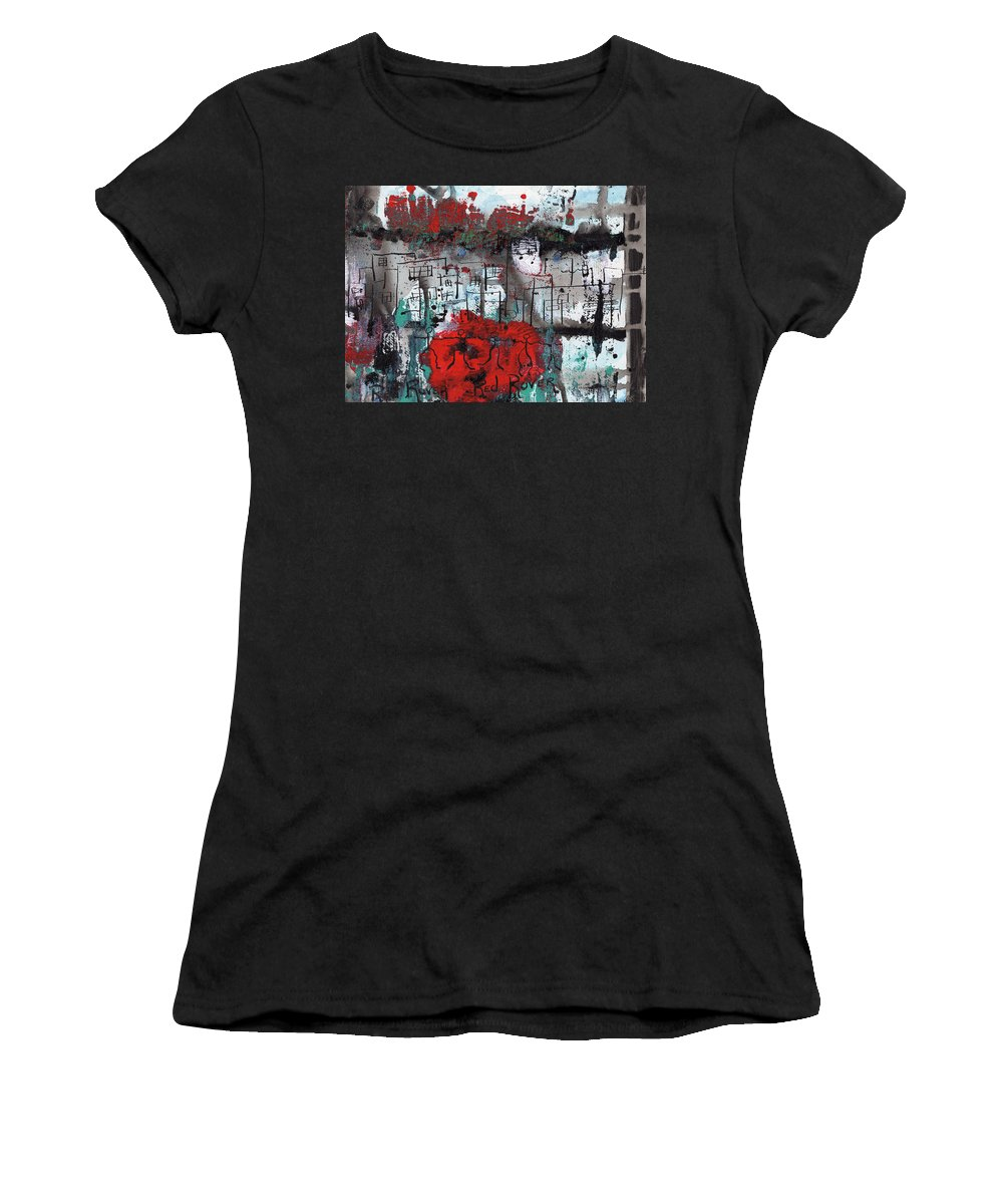 Abstract Women's T-Shirt (Athletic Fit) featuring the painting Red Rover Red Rover by Wayne Potrafka