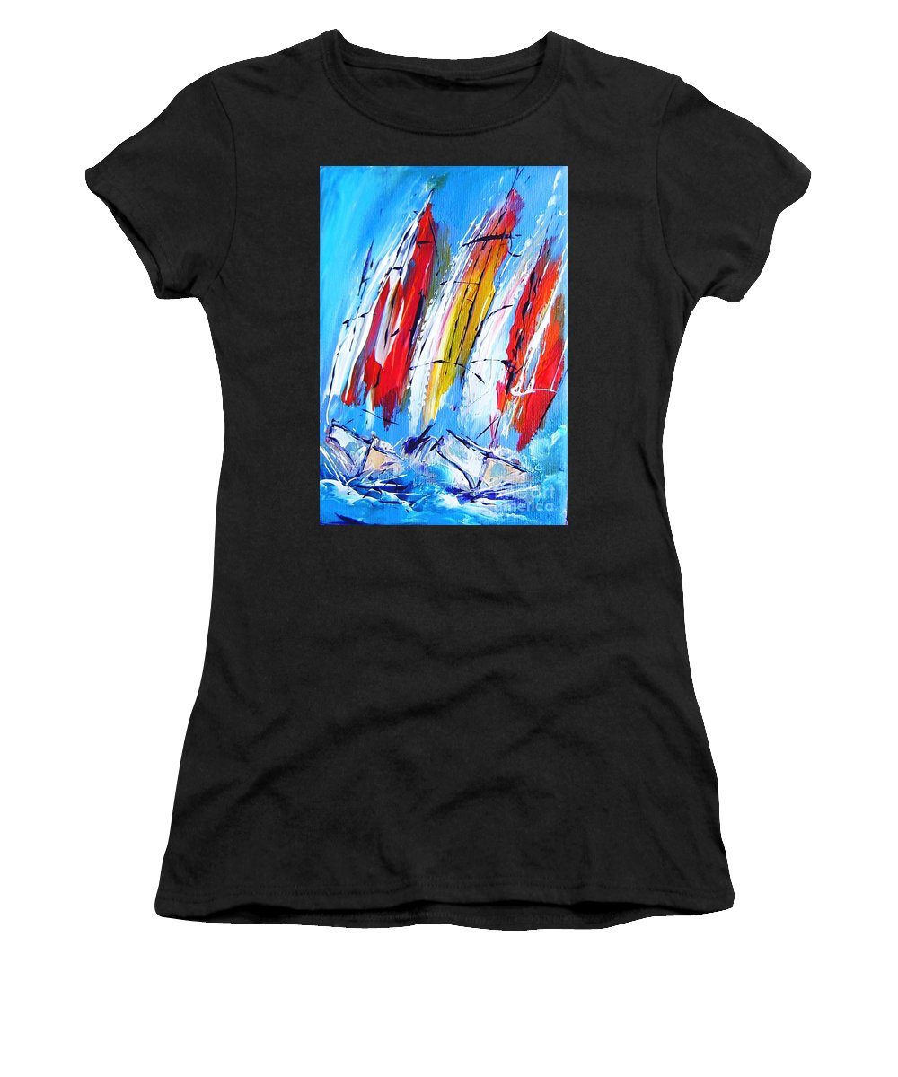 Sails Women's T-Shirt featuring the painting Red Sails On Blue by Mary Cahalan Lee- aka PIXI