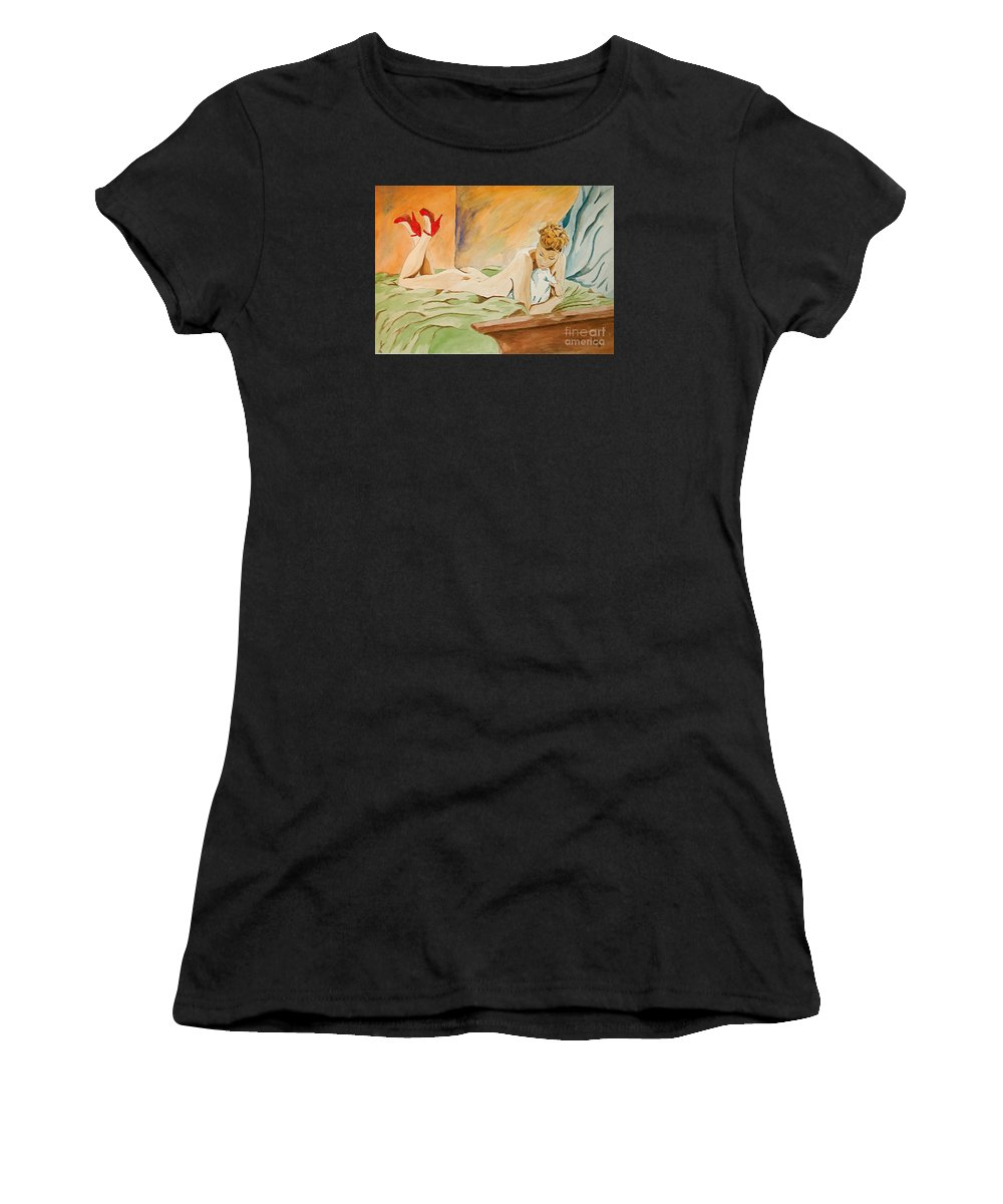 Nude Women's T-Shirt featuring the painting Red Shoes by Herschel Fall