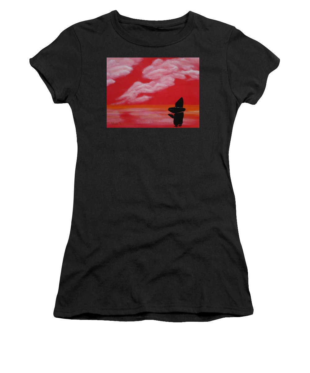 Red Women's T-Shirt (Athletic Fit) featuring the painting Red Sky1 by Monika Shepherdson